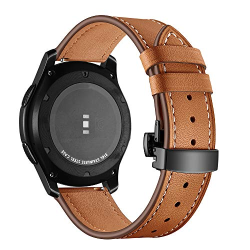 Correa de reloj de cuero compatible con Galaxy Watch 46 mm/Gear S3 Classic/Frontier 22 mm con hebilla de acero inoxidable mariposa correa de repuesto de 22 mm