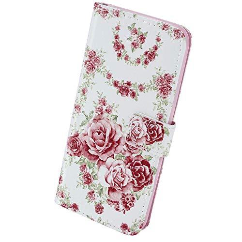 Herbests Kompatibel mit Samsung Galaxy A41 Leder Hülle Schutzhülle Handyhüllen 3D Bunt Retro Muster Flip Wallet Case Cover Leder Tasche Ständer Klapphülle Magnetverschluss,Pink Rose Blumen
