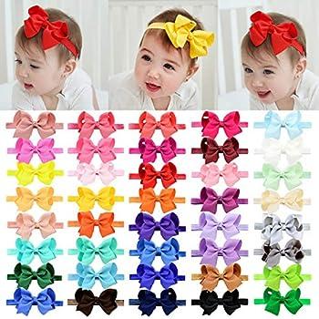 40pcs Baby Girls Grosgrain Ribbon Hair Bows Headbands 4.5  Elastic Hair Band Hair Accessories for Infants Newborn