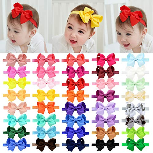 40pcs Baby Girls Grosgrain Ribbon Hair Bows Headbands 4.5' Elastic Hair Band Hair Accessories for Infants Newborn