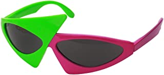 Asymmetric 80's Sunglasses – Green & Rose Red 2-Color Party Favors, Novelty Shades, Rock Star Costume Glasses Toys, Funny Glasses Accessories for Kids & Adults