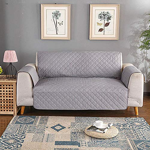 Deals Waterproof Quilted Sofa Covers Furniture Protector Machine Washable 1/2/3 Seater (Grey, 3 Seater)