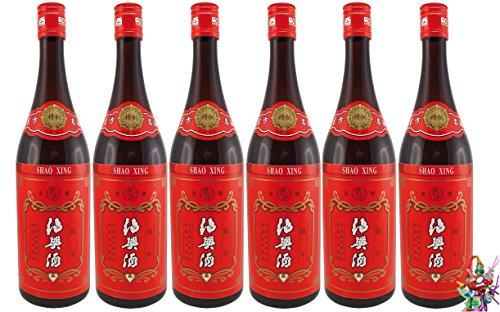 [ 6x 750ml ] SHAO XING Alkoholhaltiges Reisgetränk alc. 14% vol + ein kleines Glückspüppchen - Holzpüppchen