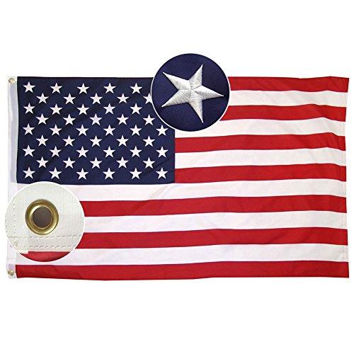 Lixure Amerikanische Flagge/Fahne USA Flagge 90x150cm(3x5 Fuß) US Flagge Permium Qualität Langlebige 210D Nylon für Draußen/Drinnen Sticksterne mit Messing Ösen MEHRWEG