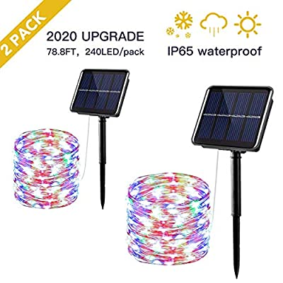 Outdoor Solar Lights String,78.8ft 240LED Fairy Lights with 8 Lighting Modes,IP64 Waterproof Ideal for Outdoor Patio Yard Decor,Multicolor