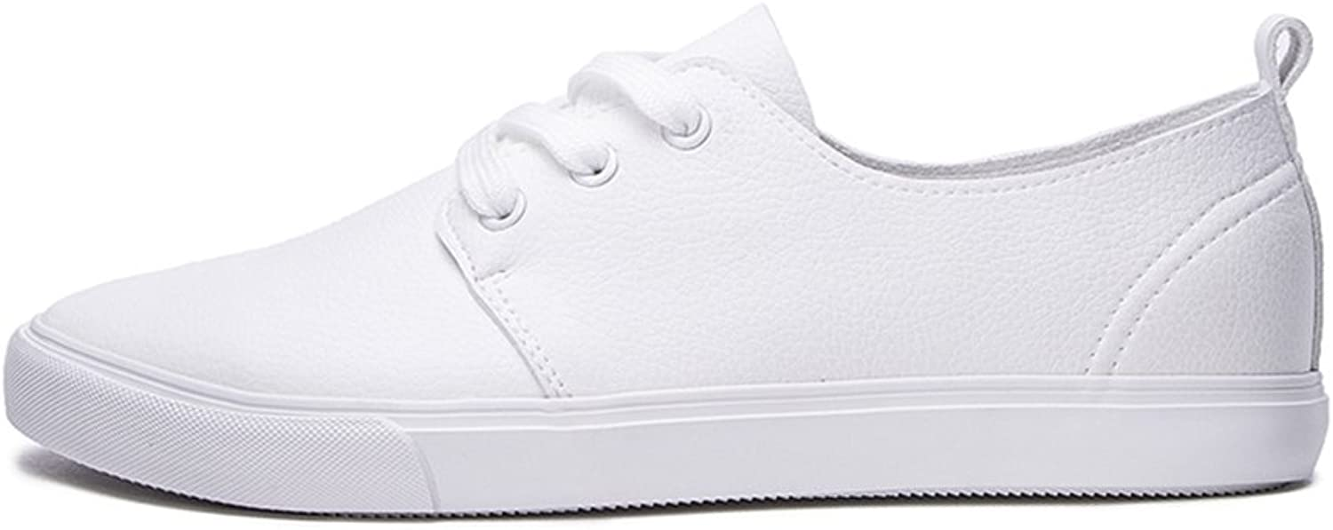 WYYY Men's shoes shoeslace Round Head Casual shoes PU Two color Optional Spring And Autumn ( color   White , Size   40 )