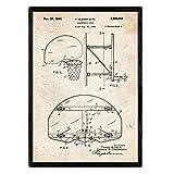 Nacnic Stampa artistica vintage su sfondo vintage brevetto canestro basket. progetto cesto da pallacanestro.NBA. vecchi brevetti. vecchie invenzioni. 250 Grammi di Alta Qualità.