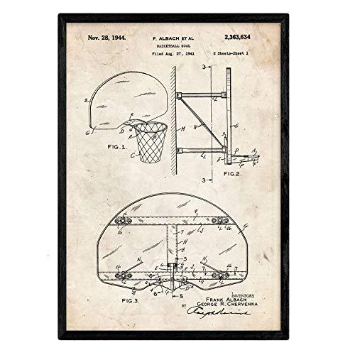 Nacnic Poster con patente de Canasta baloncesto. Lámina con diseño de patente antigua en tamaño A3 y con fondo vintage
