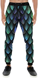 Mens Casual Baggy Slacks Dragon Scales Print Pants Sweatpants