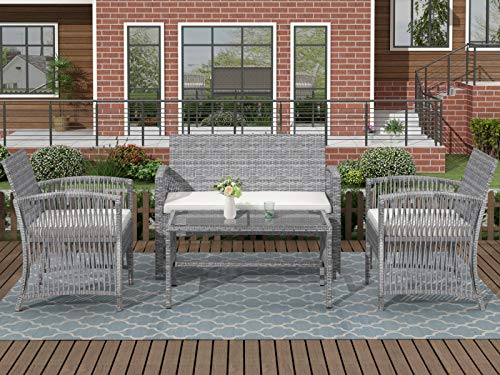 Zebery 【Not Allowed to Sell to Walmart】 TOPMAX 4 Pieces Outdoor Furniture Rattan Chair & Table Patio Set Outdoor Sofa for Garden, Backyard, Porch and Poolside