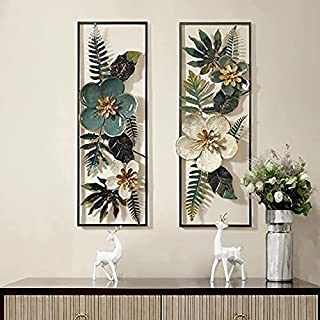 MARWAR ARTS Iron metal Set of 2 green white 3D shine flower & leaf frame for room hall living area wall hanging decorative...