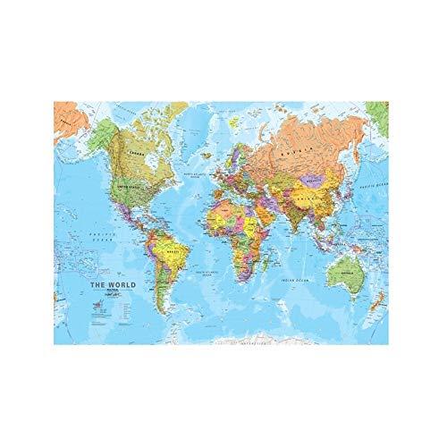 WSF-CARTE, 1PC A2 Taille Carte du monde de toile Revisisée 2009 Decor mural Carte de la peinture sans cadre pour l'école de bureau Décor mural