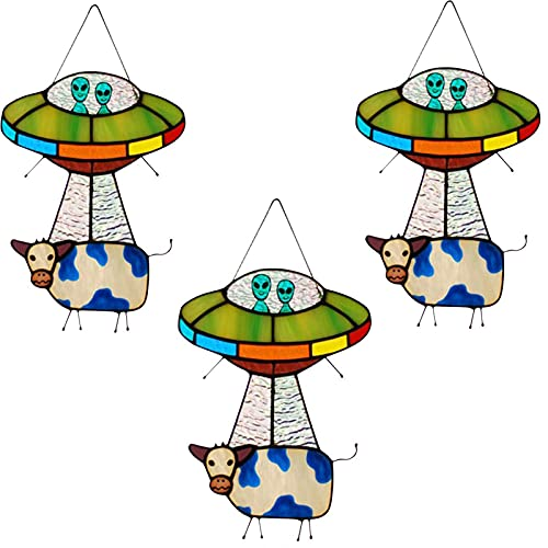 Opfree Alien Decorations,Painted UFO Pendant,Stained Glass Cow,Hanging for Windows Doors,Home Decoration and Gifts