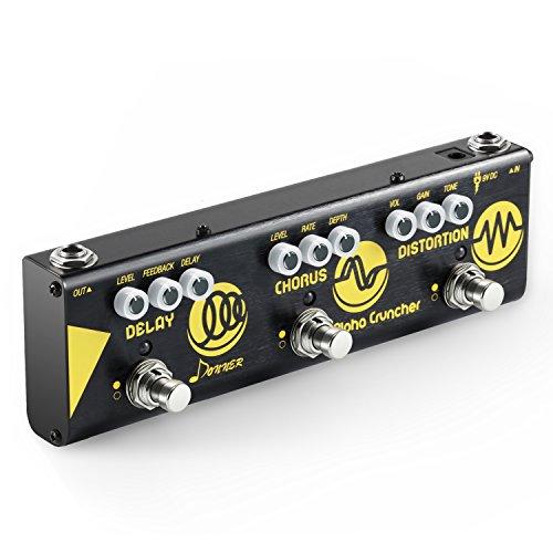 Donner Pedal Multiefectos para Guitarra Alpha Cruncher 3 Tipos Efectos Delay Chorus y Distortion en 1 Cadena con Adaptador