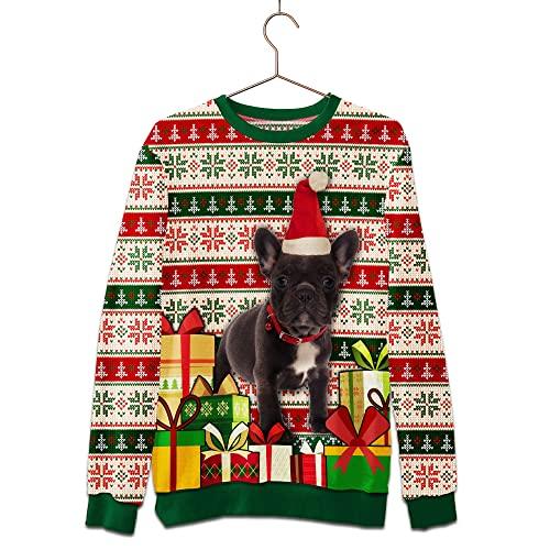 Customized 3D Sweatshirt French Bulldog Christmas Sweatshirt Personalized T-Shirts Zip-up Hoodie Tank Top Crewneck Sweatshirt Outdoor Holiday Style