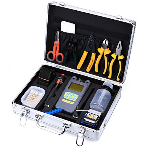 FTTH Fiber Optic Assembly Cables Termination Tool Kits 23 in 1 Cold Connection Tool with the FC-6S Fiber Cleaver 10KM Visual Fault Locator Fiber Optic Fiber Stripping Tool Equipment