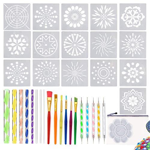 36 PCS Mandala Dotting Tools Stencil Set with Zipper Storage Bag, Dotting Tools, Brushes and Paint Tray for Painting Rocks Drawing & Drafting, Kids' Crafts, Nail Art, Painting