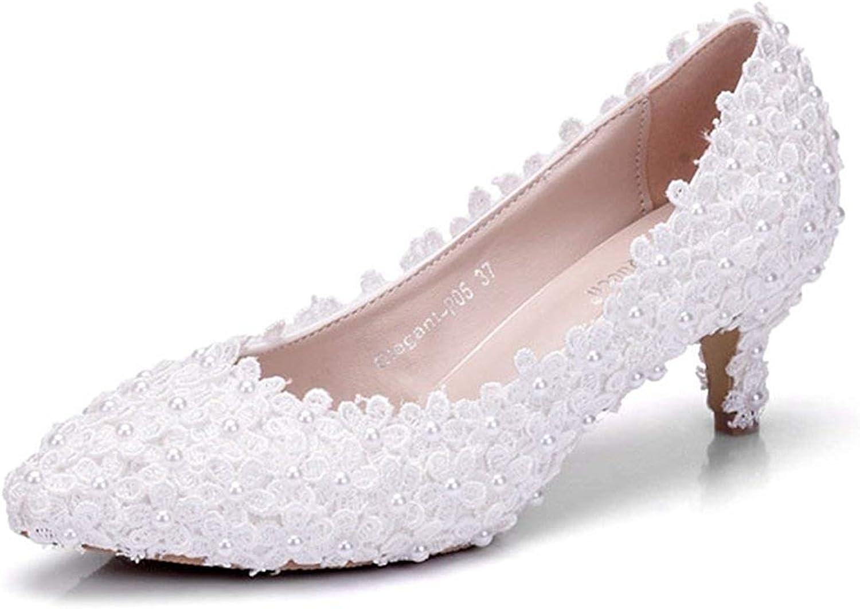 ZHRUI Damen Spitze Blaumen 2 2 2 Heel Slip-on Braut Hochzeit Formale Partei Abend Pumps Schuhe (Farbe   Weiß-5cm Heel, Größe   5 UK)  94c9ce