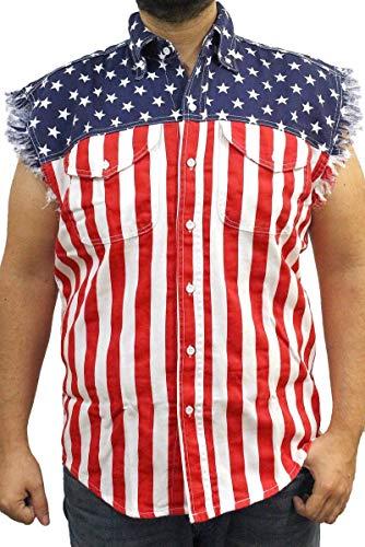 SHORE TRENDZ Men's Sleeveless USA Flag Denim Shirt, Large