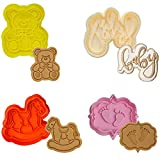Baby Shower Cookie Cutter 4Pcs 3D Stampers Molds DIY Fondant Decorating for Kids Birthday Party Kitchen Tools Making Rocking Horse Baby Letter Bear Foot