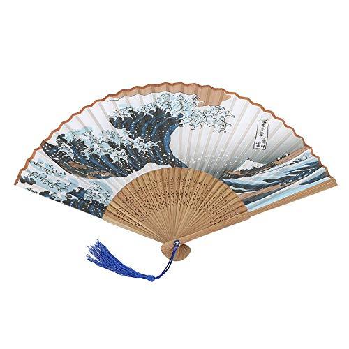 HEEPDD Faltbarer Handfächer, Elegante gemalte Wellen im Janpanese-Stil Faltbarer Handfächer Bambus Bedruckte Faltfächer-Baumwolle für Partyhochzeitsgeschenk mit Fächerabdeckung(#2)