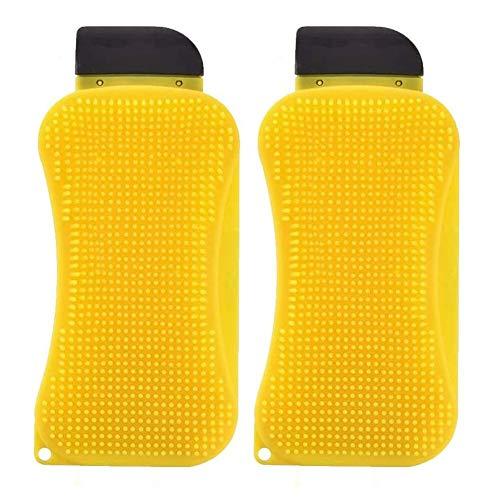 BESLIME Esponja de Silicona, Cepillo de Limpieza de Silicona, 3 en 1 Cepillo de Limpieza Creativo Multifuncional para Cocina, Cepillo de Limpieza para raspador dispensador de jabón (Amarillo)