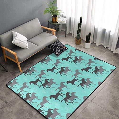 Comfort&products Wild Horses - Alfombra de cocina de espuma viscoelástica con respaldo de goma antideslizante, de secado rápido, alfombra de baño Shaggy para arte del hogar premium – 100 x 150 cm