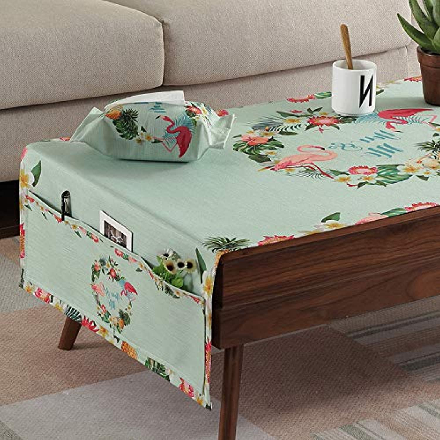 Creek Ywh Nordic fabric coffee table tablecloth art small fresh waterproof antiscalding oilfree disposable, with storage bag  flamingo tropical, 60150cm