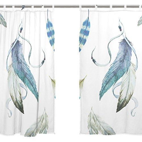 Jstel 2 pcs Voile de rideau de fenêtre, Attrape-rêves Plume de paon Floral, tulle Sheer Rideau Drape Lit 139,7 x 198,1 cm Ensemble de deux Panneaux