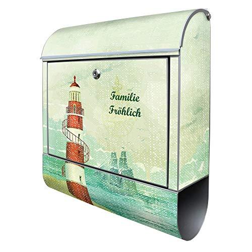 Banjado Design Briefkasten mit Motiv Alter Leuchtturm | Stahl pulverbeschichtet mit Zeitungsrolle | Größe 38x47x14cm, 2 Schlüssel, A4 Einwurf, inkl. Montagematerial mit Beschriftung