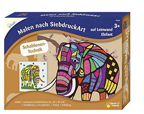 MAMMUT 159005 - Malen nach SiebdruckArt, Tiermotiv, Elefant, Komplettset mit Leinwand auf Keilrahmen, 4 Schablonen, 6 Acrylfarben, Pinsel, Anleitung, Malset für Kinder ab 3 Jahre