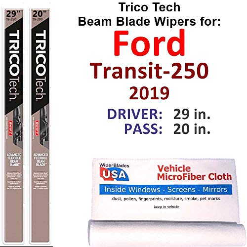 Beam Wiper Blades for 2019 Ford Transit-250 Set Trico Tech Beam Blades Wipers Set Bundled with MicroFiber Interior Car Cloth