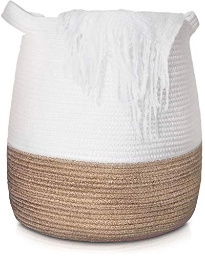 Greenview Extra Large Woven Cotton Rope Basket 17x17 Tall Decorative Storage Baskets for Living Room Blankets, Throws, Toys, Plant, Baby & Nursery- Cute Laundry Hamper with Handles