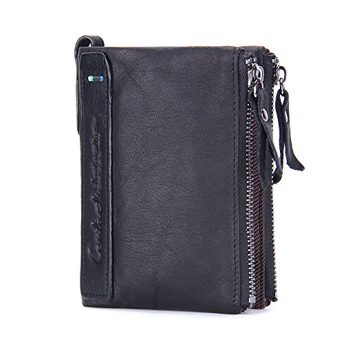 Contacts Mens de cuero genuino Bifold doble cremallera monedero bolso monedero negro