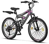Licorne Strong Bike - Bicicleta de montaña prémium de 26 pulgadas, para niños, niñas, mujeres y hombres, cambio Shimano de 21 velocidades, suspensión completa, Niñas, Gris antracita/rosa., 24 Pulgadas
