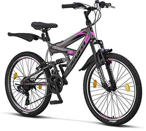 Licorne Bike Premium Mountain Bike Strong da 24 Pollici, Bicicletta per Ragazzi, Ragazze, Donne e Uomini, con Cambio Shimano a 21 Marce, sospensioni Complete, Bambina,Antracite/Rosa