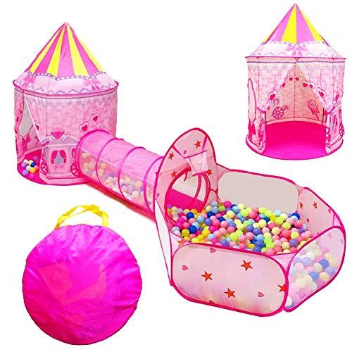 Clenp Tienda De Piscina De Bolas para Bebés con Piscina para Niños - 3 Unids/Set Tienda De Juegos Plegable para Niños con Túnel De Arrastre De Castillo De Cuento De Hadas