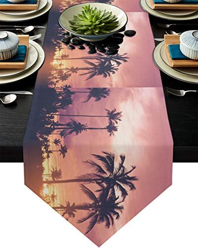 Infinidesign Tropical Palm Trees Table Runner, Cotton Linen Texture Washable Non-Wrinkle, Decoration for Dinner Table Parties 16x72inch Sunset Dusk Sunset Nature Beach Scenery
