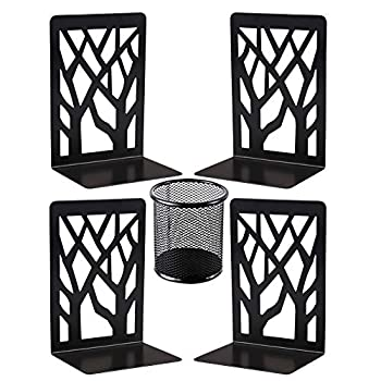Metal Bookends Decorative Book Ends Black Bookends Supports Non Skid Book Stoppers Heavy Duty Book Shelf Holder 2 Pairs Book Stand for Shelves Bookshelf Office School Library with 1 Pencil Holder