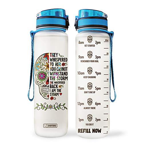 64HYDRO 32oz 1Liter Motivational Water Bottle with Time Marker, Sugar Skull Mandala Whisper I am The Storm HAD2904003 Water Bottle