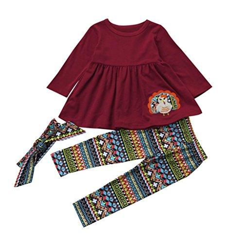 Hirolan Babykleidung Bedrucken Langarmshirt Weihnachtsoutfit Schlafstrampler 3 Stück das Erntedankfest Kinderkleidung Kleinkind Baby Mädchen Kleid + Hose + Stirnband (Dunkel Rot, 120)