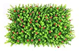 cesped artificial exterior 4 PCS Paneles artificiales de boxwood, tapetes de boxeo Faux con flores, pantalla de boxeo de cero de privacidad, utilizado para la cerca al aire libre y decoración de jardí