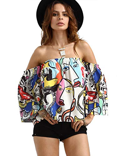 ROMWE Women's Off Shoulder Cute Loose Blouse Crop Top Multicolor One Size