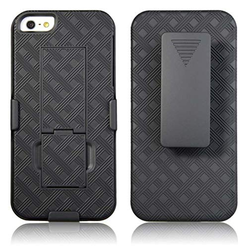 Rome Tech Holster Case with Belt Clip for 2016 Apple iPhone SE 1 / 5 / 5s [NOT for SE2] Slim Heavy Duty Shell Holster Combo - Rugged Phone Cover with Kickstand Compatible with Apple iPhone SE - Black