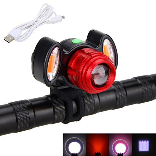 ZIGLY USB Rechargeable XM-L T6 + Red COB LED Bicycle Headlight