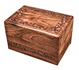 wood adult urn - Winlay Wooden urns for Human Ashes Adult, Wood urn Box Small, Extra Large Wooden Keepsake urn Box, Size 9 x 6.5 x 5.5 Inch, Natural Flower Design
