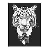 SHBKGYDL Bilder Auf Leinwand,Anzug Tiere Tiger Schwarz