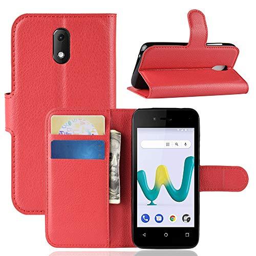 HongMan Handyhülle für Wiko Sunny 3 Mini Hülle, Premium Leder PU Flip Hülle Wallet Lederhülle Klapphülle Magnetisch Silikon Bumper Schutzhülle Tasche mit Kartenfach Geld Slot Ständer, Rot