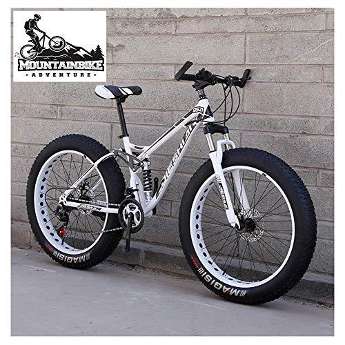 NENGGE Mountain Bike Biammortizzata con Doppia Freni a Disco, Adulti Uomo Donna Pneumatico Grasso Bicicletta Mountain Bike, Acciaio ad Alto Tenore di Carbonio Biciclette,New White,24 inch 7 Speed