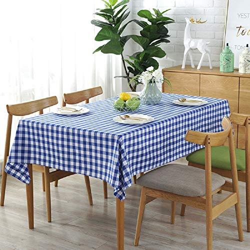 VLUNT Manteles Decoración de Lino, Rectangular Cuadrados Manteles Mesa de Cafe Tela Cocina, Mantel a Cuadros (Disponible en Varias Medidas) - C:100 * 140CM, Azul